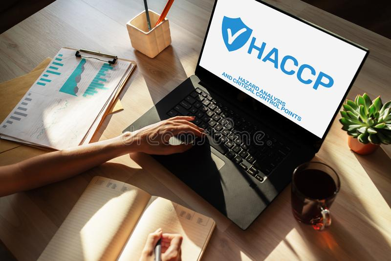HACCP - Hazard Analysis and Critical Control Point. Standard and certification, quality control management rules stock image