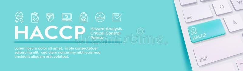 HACCP - Zagro?enie analizy Kontrolnych punkt?w ikony sieci i setu chodnikowa Krytyczny sztandar z ilustracji
