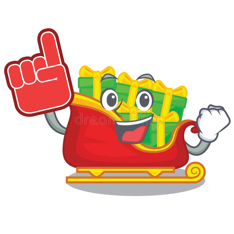 Hace espuma el trineo de Papá Noel de la Navidad del finger aislado en mascota libre illustration
