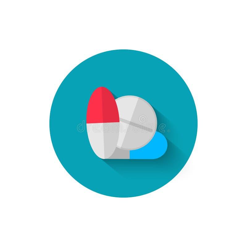 Hace tabletas el icono, ilustrado en el ejemplo plano del vector del estilo del diseño Icono moderno de la medicina Sitio web y d stock de ilustración