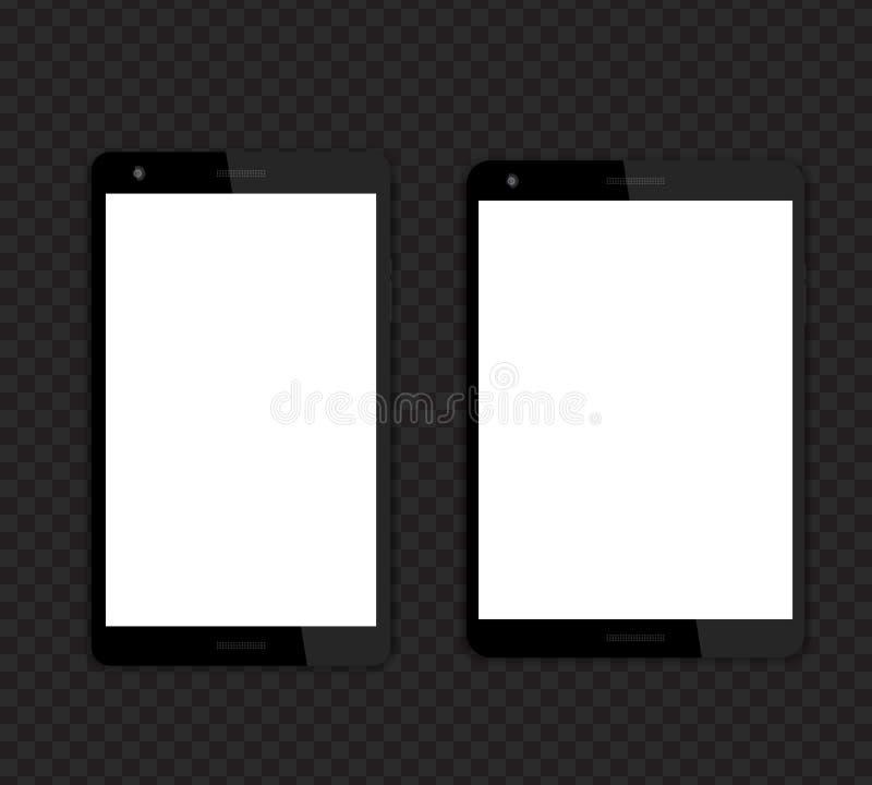 Hace tabletas maquetas con las pantallas en blanco stock de ilustración