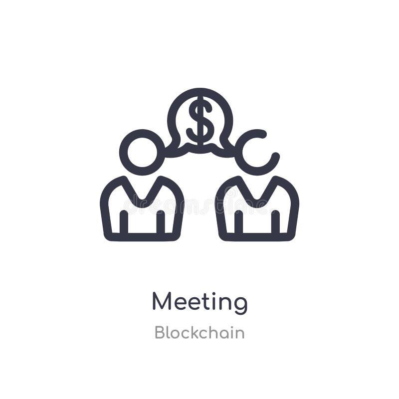 hacer frente al icono del esquema línea aislada ejemplo del vector de la colección del blockchain icono fino editable de la reuni libre illustration