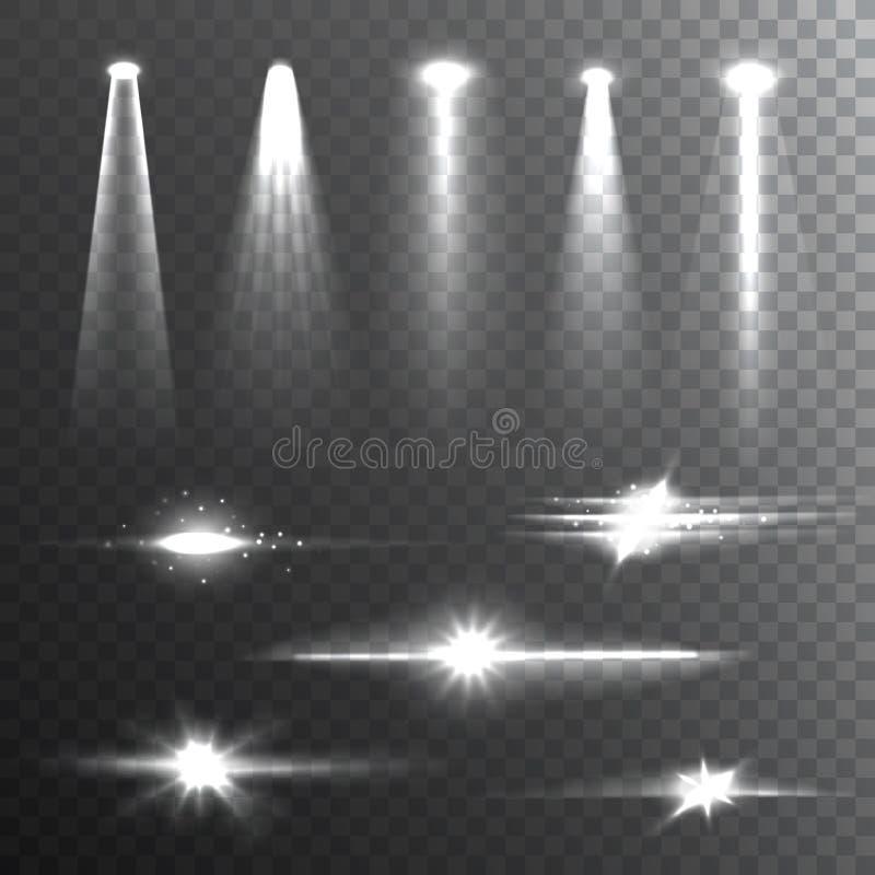 Haces luminosos blancos en la composición negra stock de ilustración