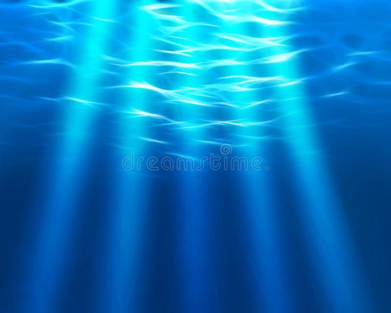 Haces luminosos subacuáticos stock de ilustración