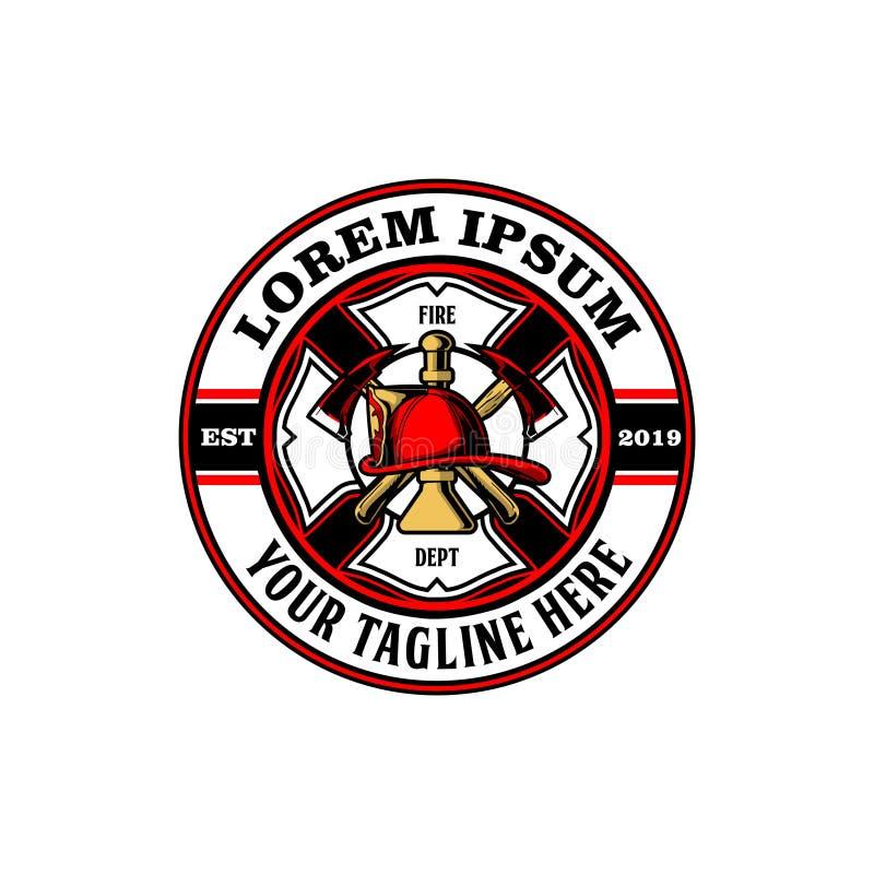 Hacha con la plantilla del logotipo del vector del cuerno y del bombero del casco stock de ilustración