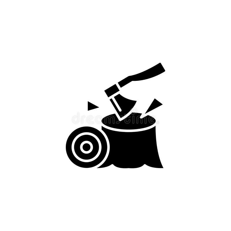 Hacha, concepto negro del icono de la carpintería Disminuya, símbolo plano del vector de la carpintería, muestra, ejemplo libre illustration