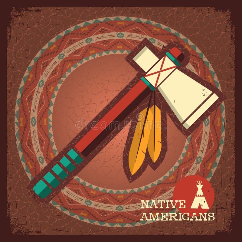 Hacha de guerra americana india ilustración del vector