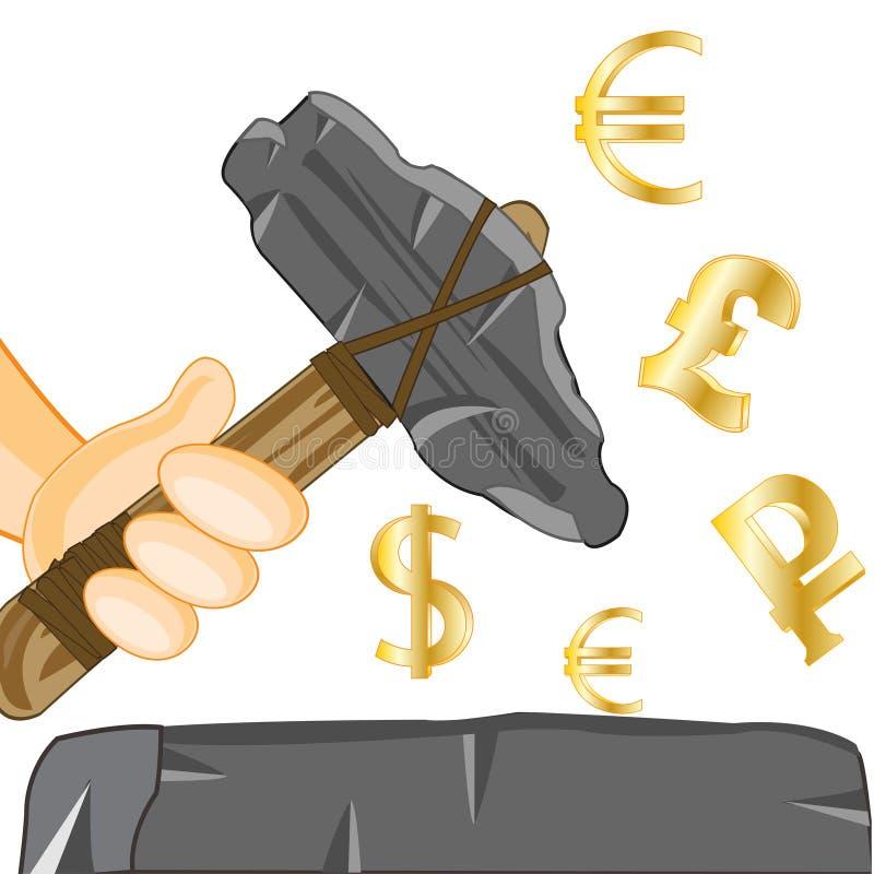 Hacha de piedra a disposición y muestras del dinero ilustración del vector