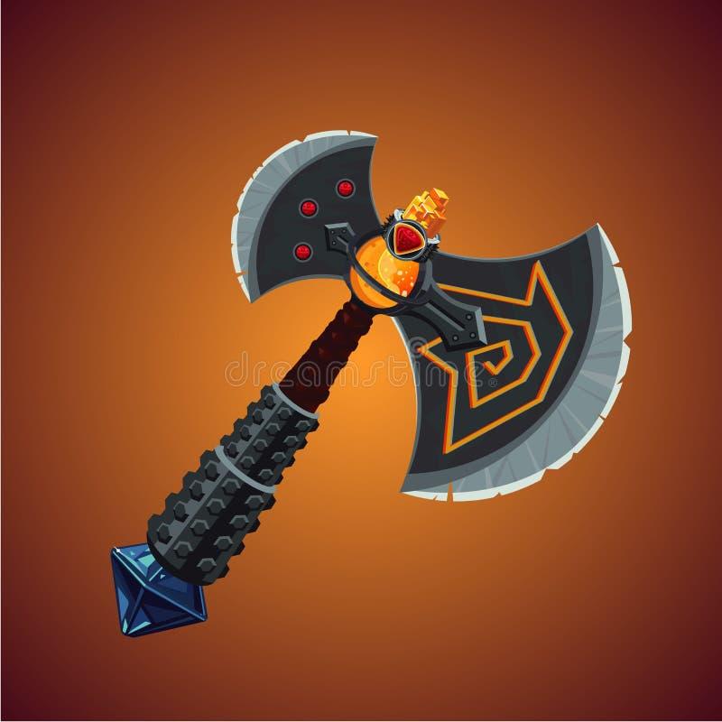 Hacha de vikingo de la fantasía Arma mágica Concepto de diseño de juego stock de ilustración
