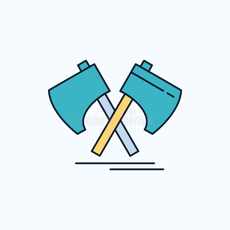 Hacha, destral, herramienta, cortador, icono plano de vikingo muestra y s?mbolos verdes y amarillos para la p?gina web y el appli stock de ilustración