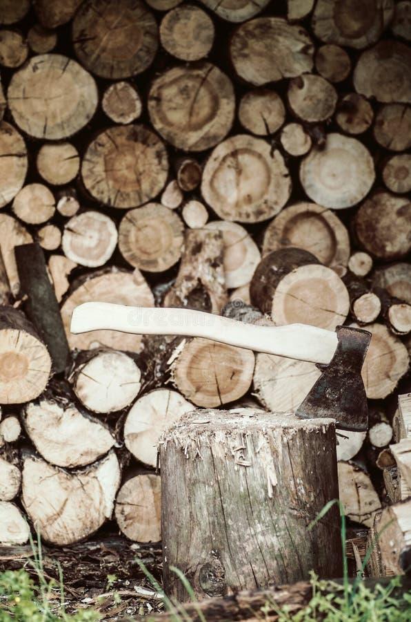 Download Hacha En El Registro De Madera Imagen de archivo - Imagen de bosque, árbol: 42442137