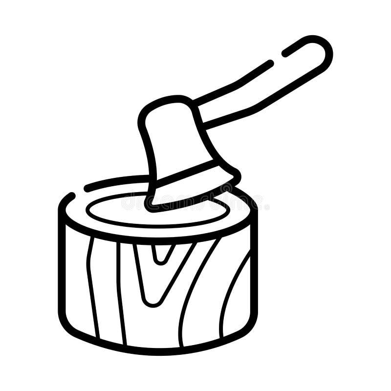 Hacha en el tocón stock de ilustración