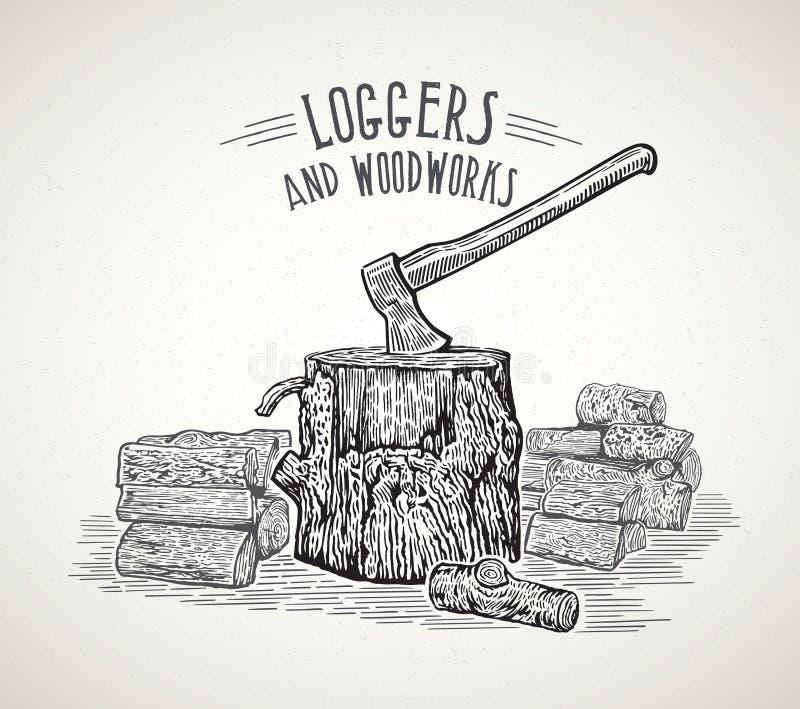 Hacha pegada en un tocón de madera ilustración del vector