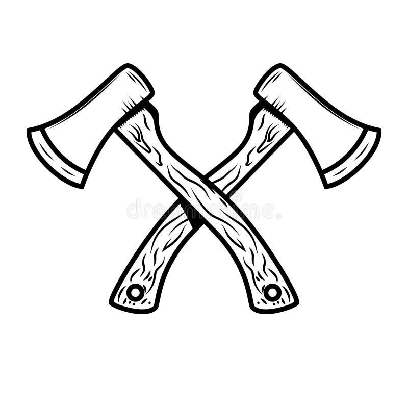 Hachas cruzadas del leñador aisladas en el fondo blanco stock de ilustración