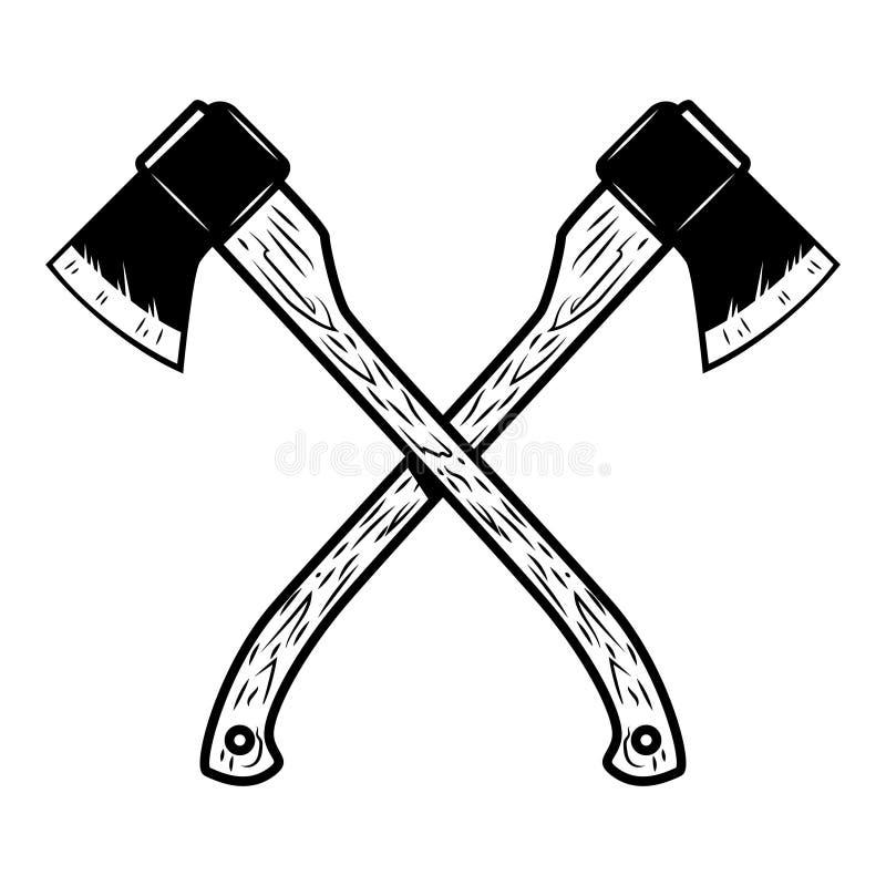 Hachas cruzadas del leñador aisladas en el fondo blanco libre illustration