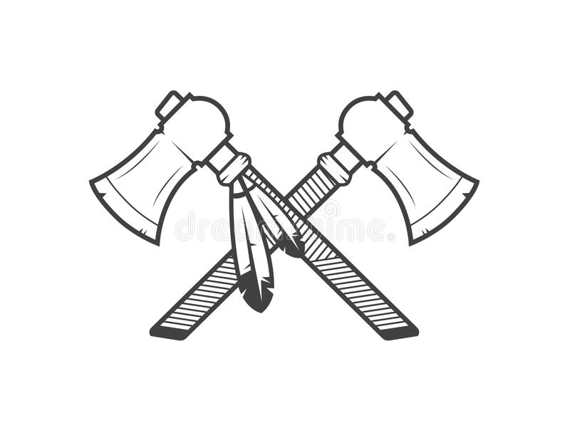 Hachas de guerra del nativo americano ilustración del vector
