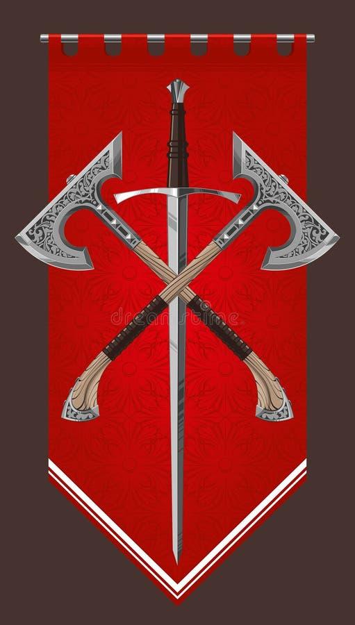 Hache ornementale enfoirée d'épée illustration stock