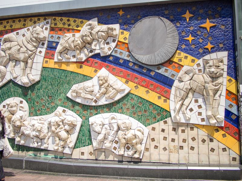 Hachikomuur in Shibuya die, Tokyo, Japan kruisen royalty-vrije stock foto