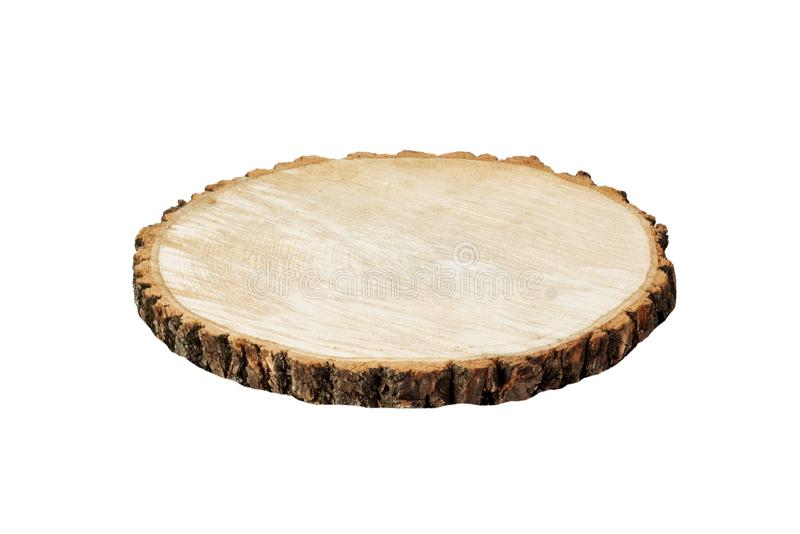 Hachoir rond en bois d'isolement sur le fond blanc Tronçon en bois d'isolement image stock