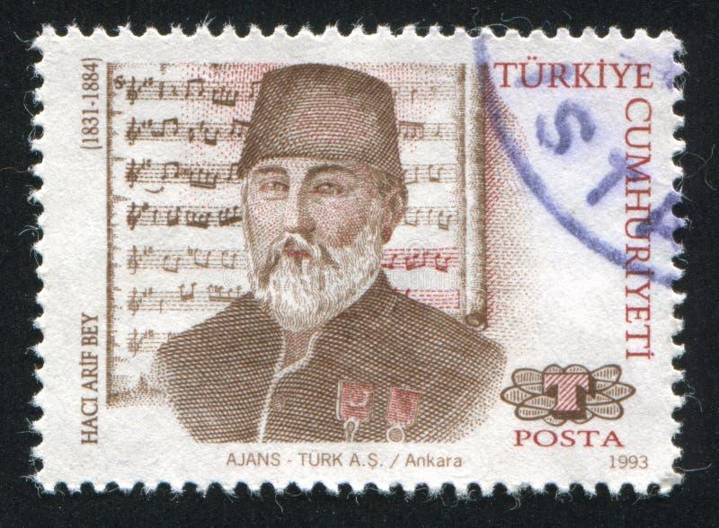 Haci Arif Bey. TURKEY- CIRCA 1993: stamp printed by Turkey, shows Haci Arif Bey, composer, circa 1993 stock photography