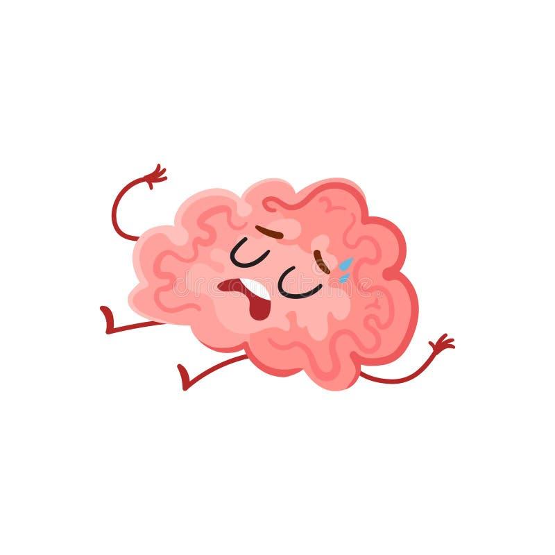 Hacia fuera cerebro cansado, subrayado divertido que suda y que miente agotado stock de ilustración