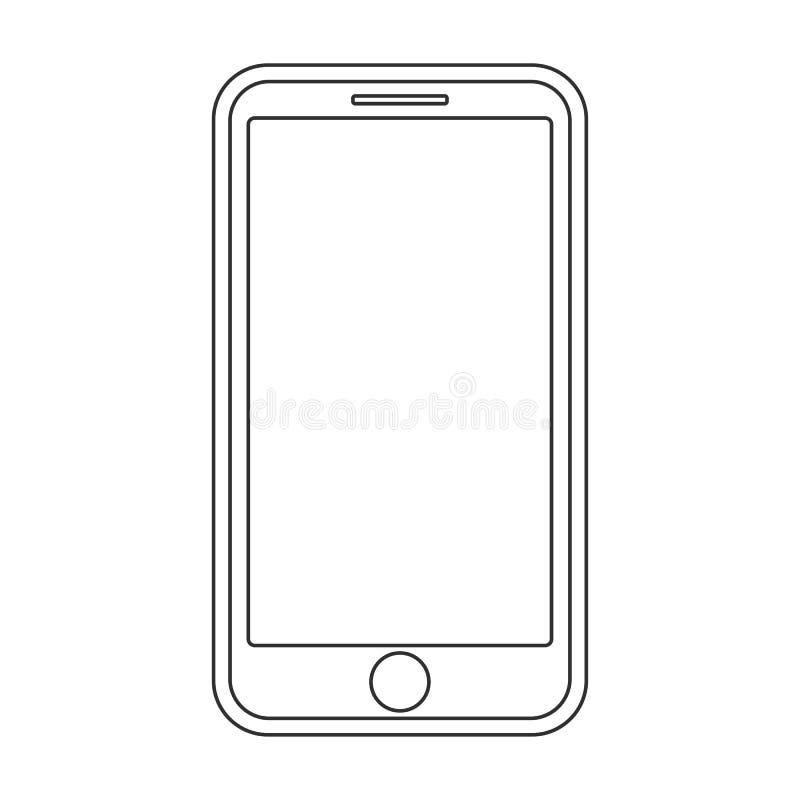 Hacia fuera líneas negras smartphone con el botón del menú y la pantalla vacía en el vector blanco eps10 del fondo Muestra del es ilustración del vector