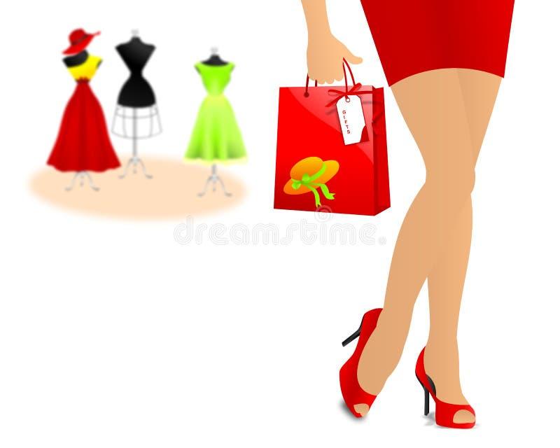 Hacia fuera para las compras ilustración del vector
