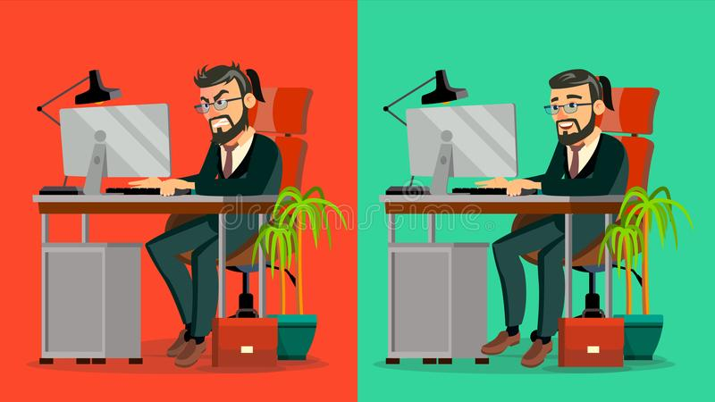 Hacia fuera subrayado Boss Vector CEO barbudo Working At Office Trabajo agotador, trabajo Hombre de negocios cansado Persona Carr libre illustration