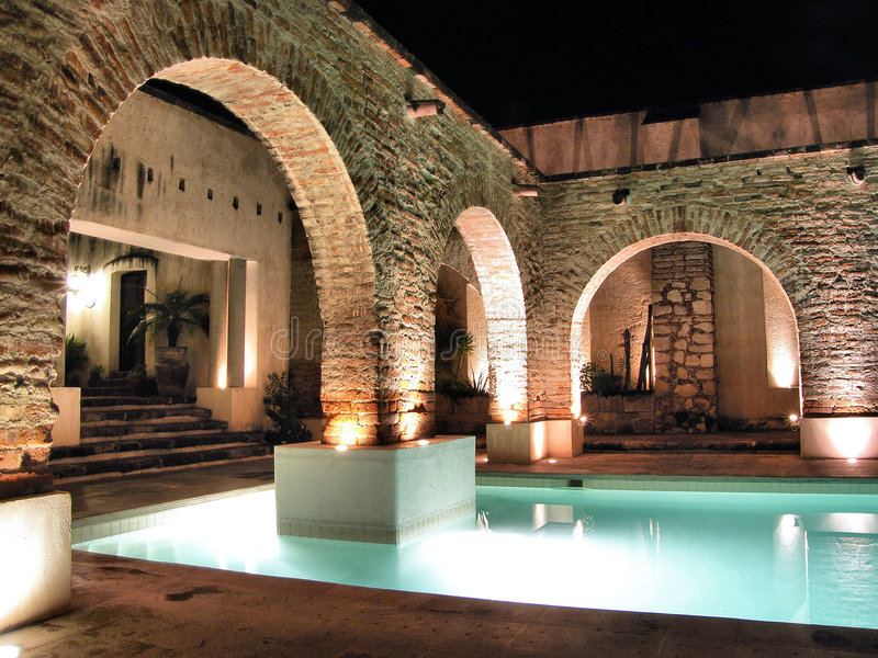 Hacienda Sepulveda's pool stock photo