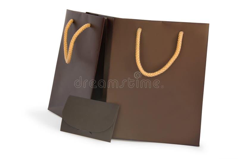 Haciendo compras dos bolsos con cartulina imagenes de archivo