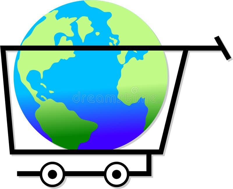 Haciendo compras el mundo ilustración del vector