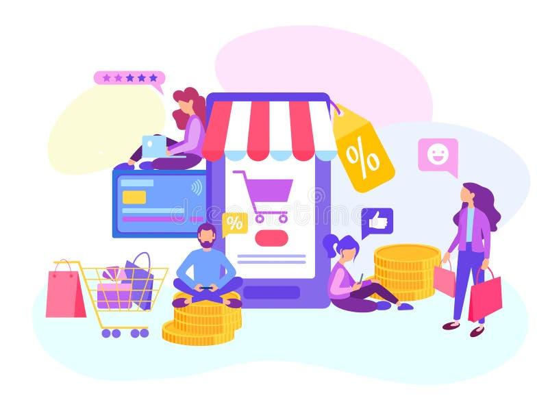 Haciendo compras en línea en la tienda de Internet, pago con tarjeta de crédito, venta stock de ilustración