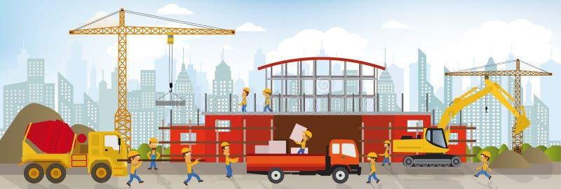 Haciendo el nuevo edificio (centro comercial) libre illustration