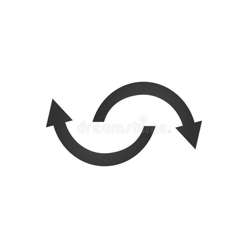 Haciendo girar, flechas giratorias Icono o muestra plano de la web del vector en fondo gris símbolo moderno del ejemplo del estil libre illustration