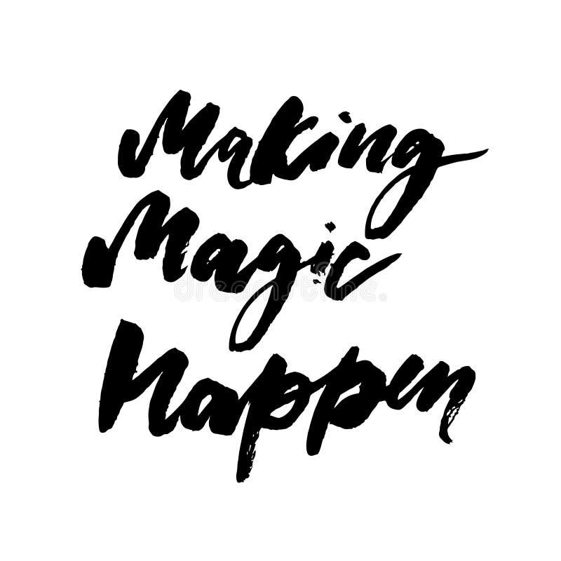 Haciendo magia suceda caligrafía que pone letras a la tinta negra del cepillo libre illustration