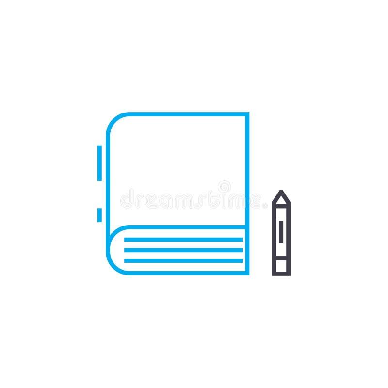 Haciendo notas en libros vector la línea fina icono del movimiento Haciendo notas en libros resuma el ejemplo, muestra linear, sí ilustración del vector