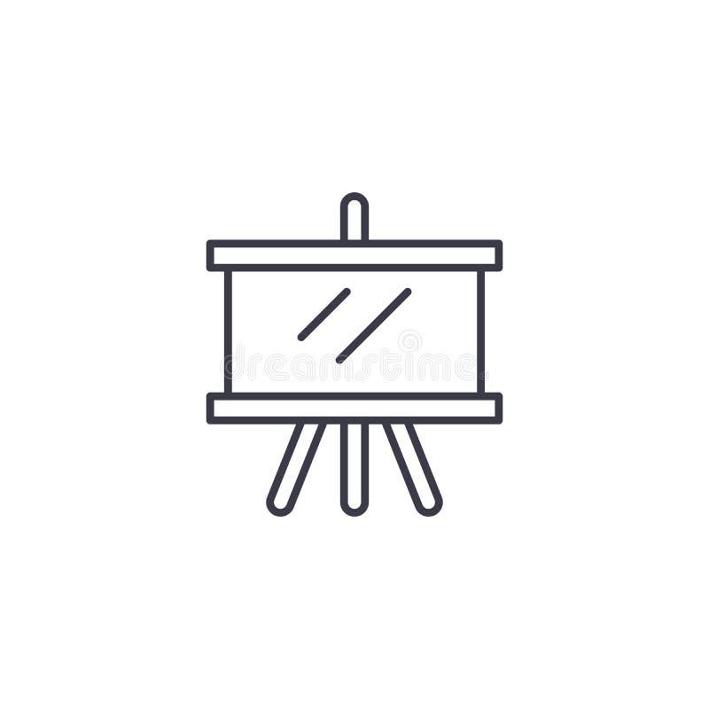 Haciendo un proyecto concepto linear del icono Haciendo un proyecto alinee la muestra del vector, símbolo, ejemplo stock de ilustración