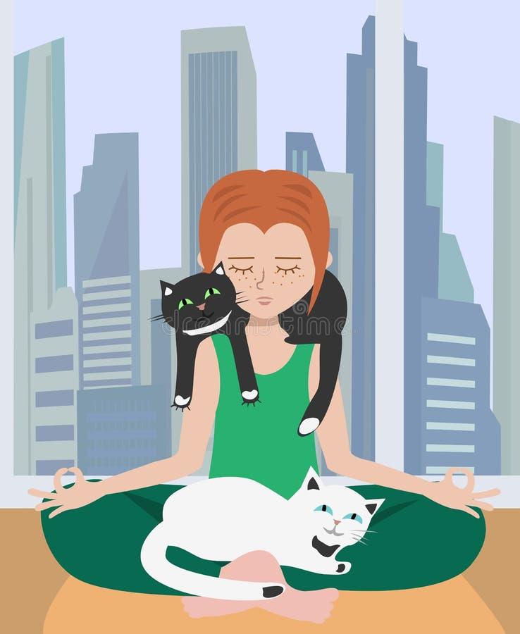 Haciendo yoga en casa con los gatos ilustración del vector