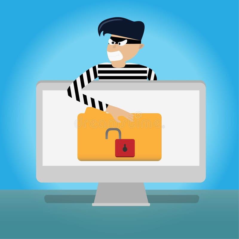 hack данные по файла кражи похитителя на персональном компьютере концепция сети интернета социальная иллюстрация вектора