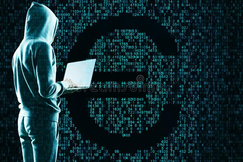 Hack and cryptocurrency concept stock photos