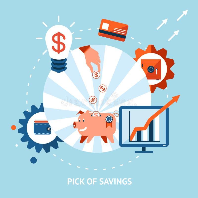 Hacka av besparingar stock illustrationer