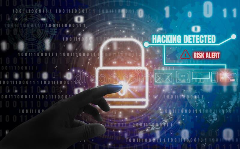 Hacka avkänt abstrakt begrepp, trycker på fingrar hänglåssymbol, med skydd av den digital identitetsstölden och avskildhet, royaltyfri bild
