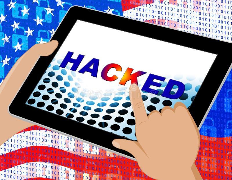 Hacka illustrationen för brytning 3d för skärmCyberdata stock illustrationer