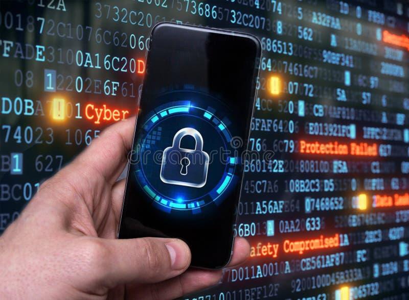 Hacka mobila enheter av en hacker Dataskydd i molnet royaltyfria foton