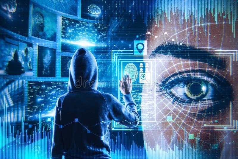 Hacka och futuristiskt begrepp royaltyfri bild