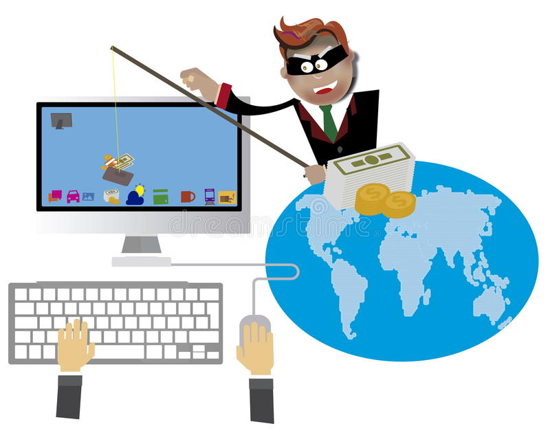 Hacka och phishing royaltyfri illustrationer