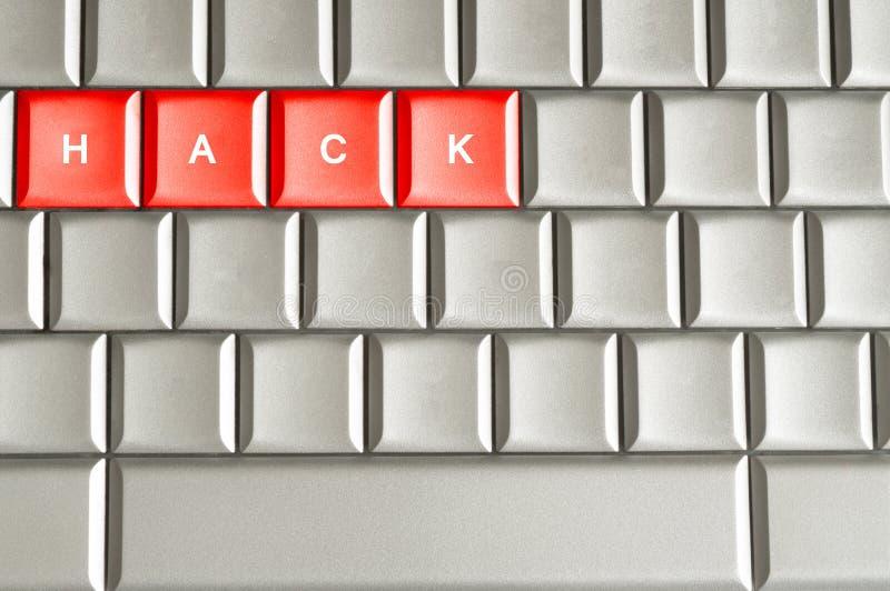 Hacka som stavas på ett tangentbord arkivfoton