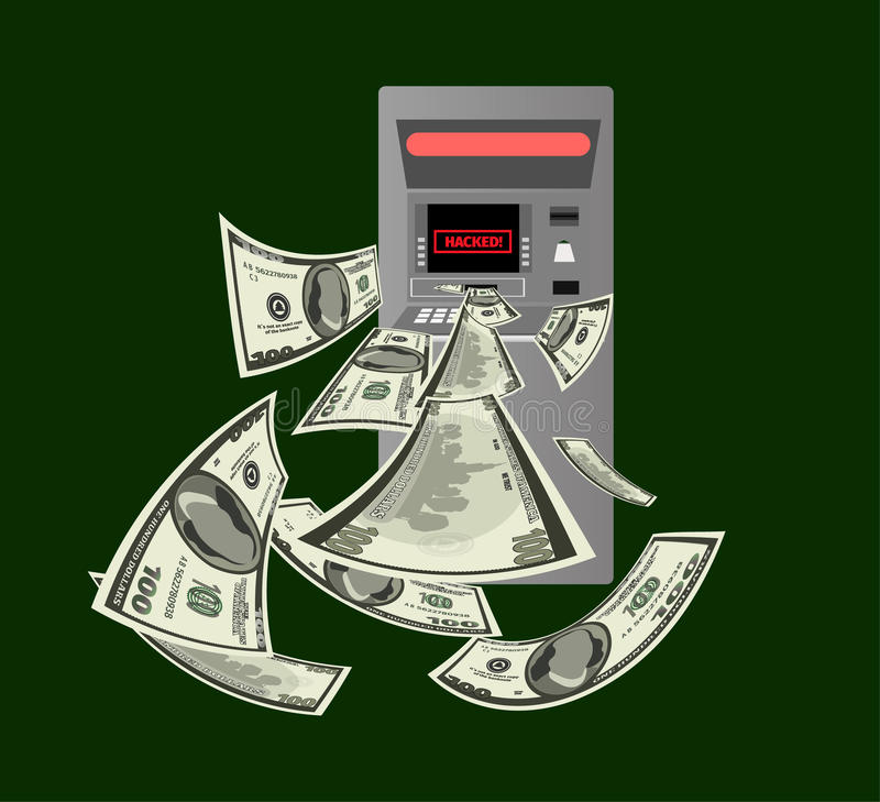 Hackad ATM royaltyfri illustrationer