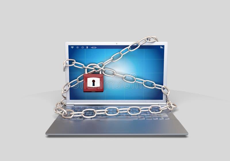 Hackad dator med hänglåset royaltyfri illustrationer