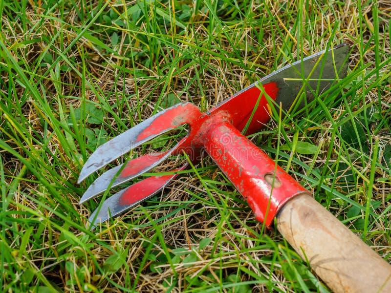 Hackan ligger på gräsmattan Hjälpmedel för trädgårds- arbete royaltyfria bilder